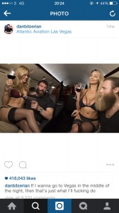 A screenshot from an instagram account showing half-dressed girls sitting on a mans lap