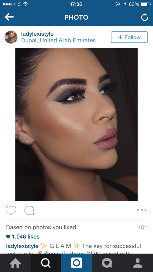 Image taken from Instagram showing flawless skin and makeup
