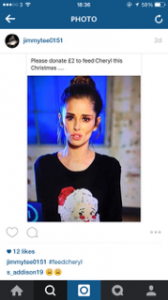 A picture of Cherly with the caption 'donate £2 to feed Cheryl this Christmas'