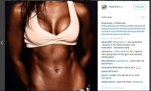 Screenshot taken from a 'Fitspiration' Instagram page of a girls stomach and boobs only